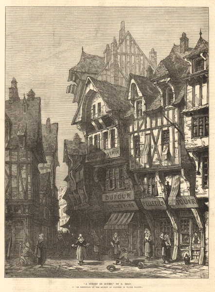 """Associate Product """"A street in Rouen"""", by S. Read. Seine-Maritime 1872 antique ILN full page"""
