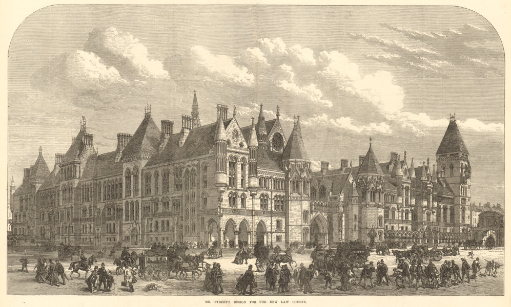 George Edmund Street's design for Royal Courts of Justice, London 1872
