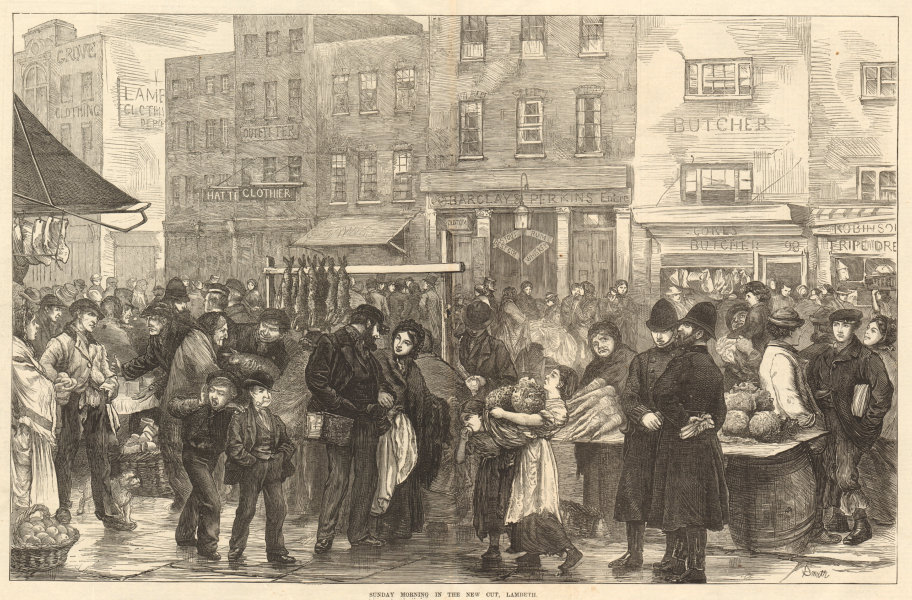Associate Product Sunday morning in the New Cut, Lambeth. London 1872 antique ILN full page print