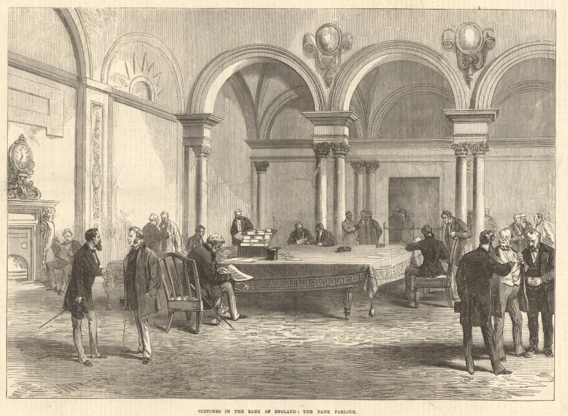 Associate Product Sketches in the Bank of England: The Bank parlour. London. Finance 1872