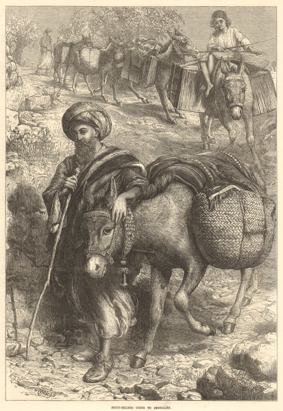 Associate Product Fruit-sellers going to Jerusalem. Israel. Markets 1872 antique ILN full page