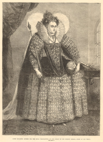 Associate Product Queen Elizabeth I. Royal Thanksgiving for the Spanish Armada's defeat 1872