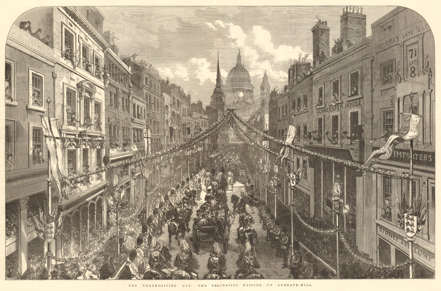 Associate Product Harvest Thanksgiving day: the procession passing up Ludgate-Hill. London 1872