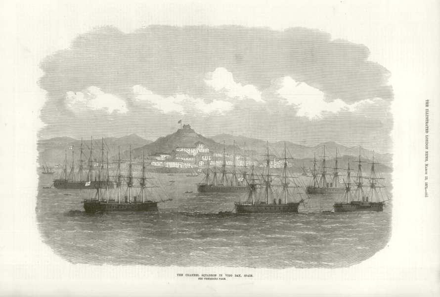 Associate Product The Channel Squadron in Vigo Bay, Spain. Royal Navy 1872 antique ILN full page