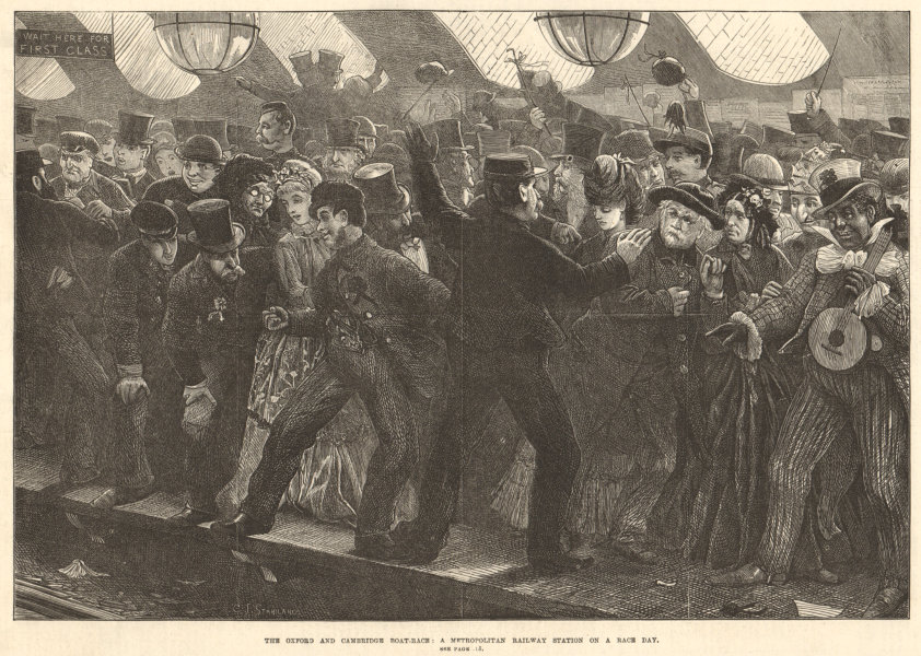 Associate Product Oxford & Cambridge boat-race: a Metroplitan railway station on race day 1872