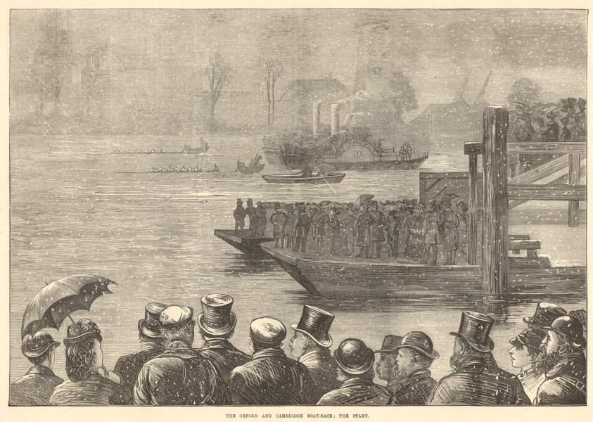 Associate Product The Oxford & Cambridge boat-race: the start. London. Rowing 1872 ILN full page