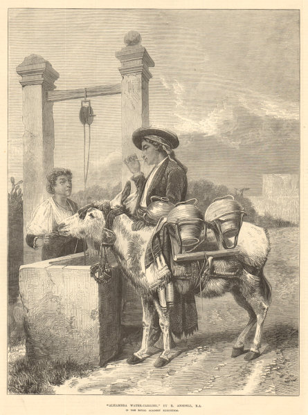 """Associate Product """"Alhambra water-carrier"""", by R. Ansdell, R. A. Spain. Donkey at the well 1872"""
