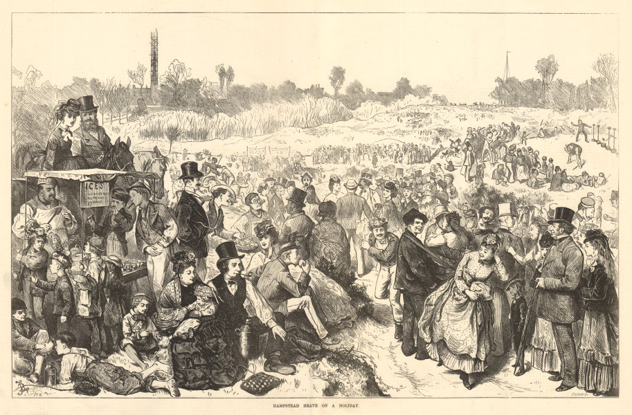 Hampstead Heath on a holiday. London. Society 1872 antique ILN full page print