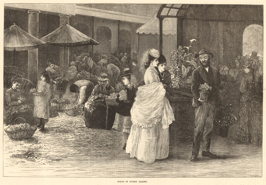 Associate Product Spring in Covent Garden. London 1872 antique ILN full page print