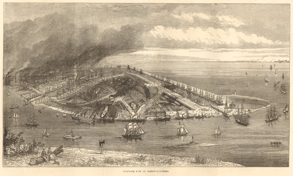 Associate Product Bird's eye view of Barrow-in-Furness. Cumbria 1872 antique ILN full page print