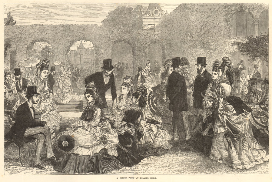 Associate Product A garden party at Holland House, Holland Park. London. Society 1872 ILN print