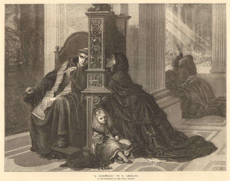 """Associate Product """"A confession"""", by R. Lehmann. Religious. Catholicism. Confessional 1872"""