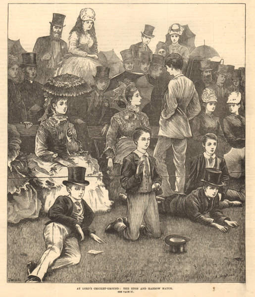 Associate Product At Lord's cricket-ground: the Eton & Harrow match. London 1872 ILN full page