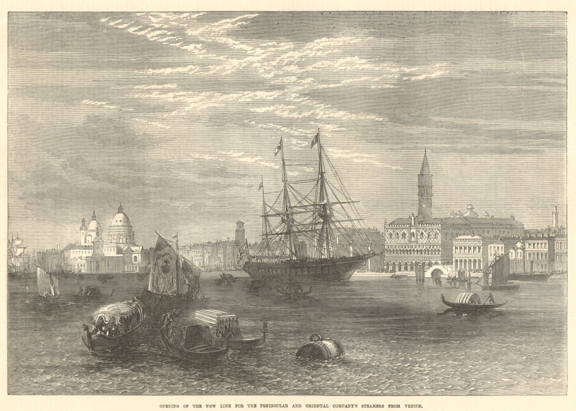 Associate Product The Peninsular & Oriental Co. 's new steamer line from Venice 1872 ILN print