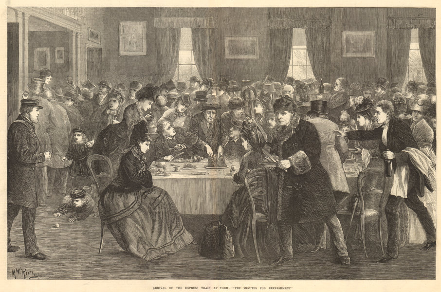 """Associate Product Arrival of the express train at York: """"Ten minutes for refreshment"""" 1872"""