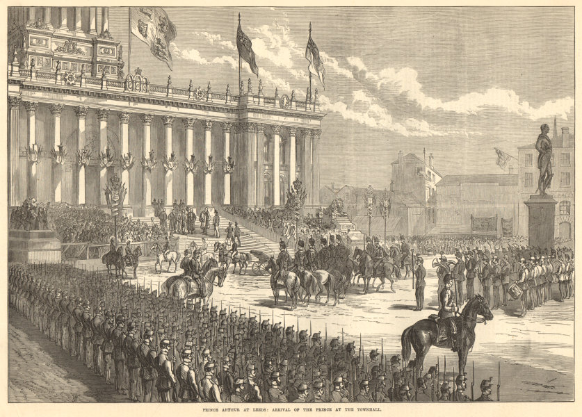 Associate Product Prince Arthur at Leeds: arrival of the prince at the town hall. Yorkshire 1872