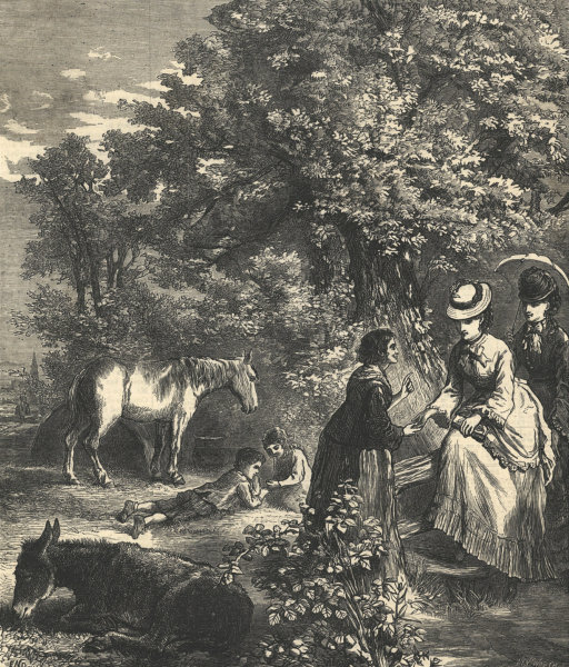 Associate Product An autumn ramble. Family. Climbing a style. Horse children 1872 ILN full page