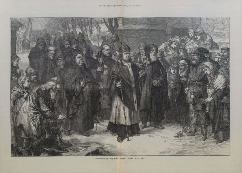 Associate Product Procession of the Holy Thorn. Religious 1872 antique ILN full page print