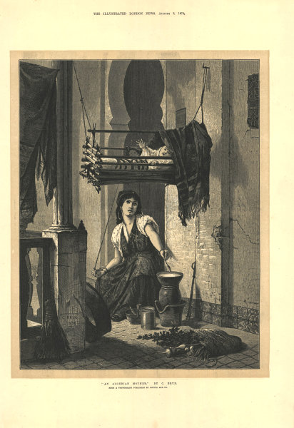 """Associate Product """"An Algerian mother"""". Family baby cradle cot 1872 antique ILN full page print"""