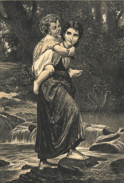 """Associate Product """"Crossing the brook"""". Family. Fine arts 1872 antique ILN full page print"""