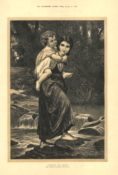 """""""Crossing the brook"""". Family. Fine arts 1872 antique ILN full page print"""