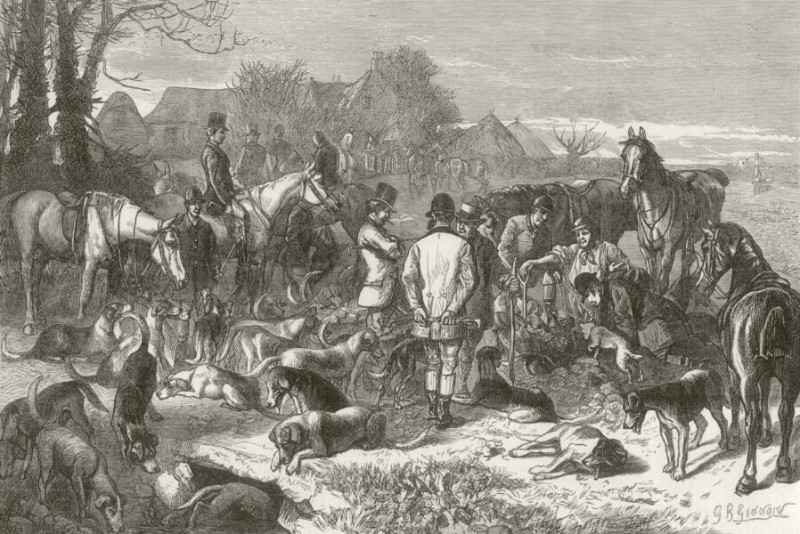 """Associate Product """" Digging Out """", by GB Goddard. Fix unting 1873 antique ILN full page print"""