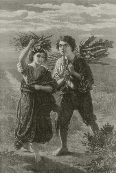 """Associate Product """" Gipsy children gathering wood, """" by Alfred Rankley. Gypsy. Kindling 1873"""