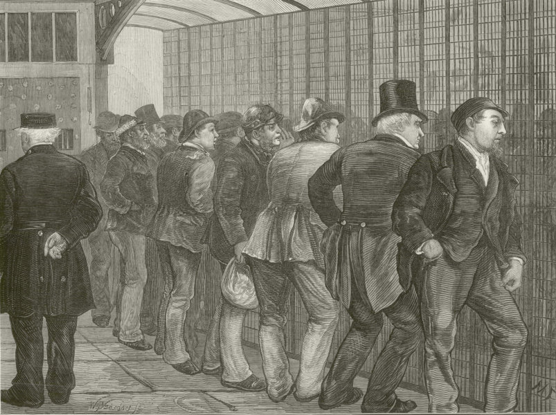 Associate Product Visiting day in Newgate prison. London. Gaol jail 1873 antique ILN full page