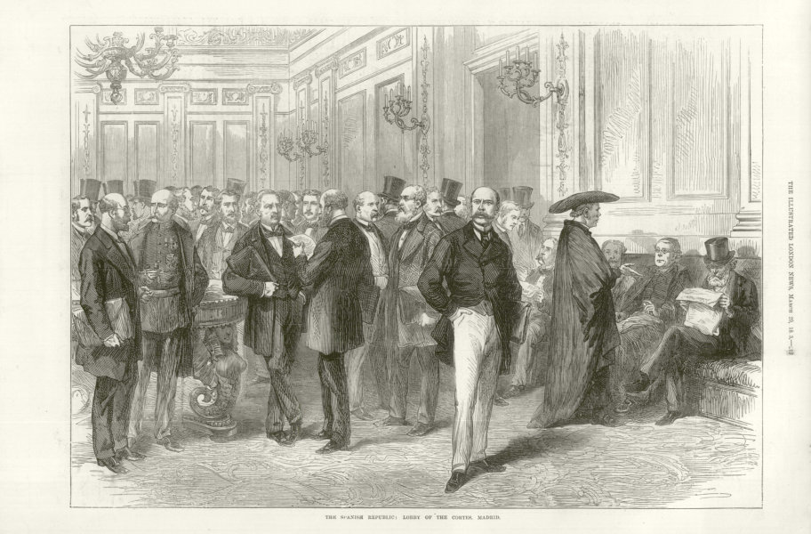 Associate Product The Spanish Republic: Lobby of the Cortes. Madrid. Spain 1873 antique ILN page