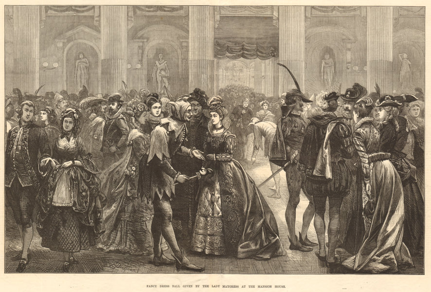 Associate Product Fancy dress ball by the Lady Mayoress at the Mansion House. London. Society 1873