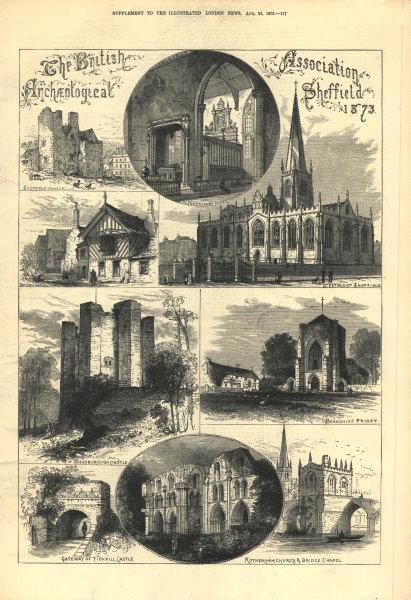 Associate Product Sheffield: Manor Broomhall St Peter's Church Conisbrough Beauchief Tickhill 1873