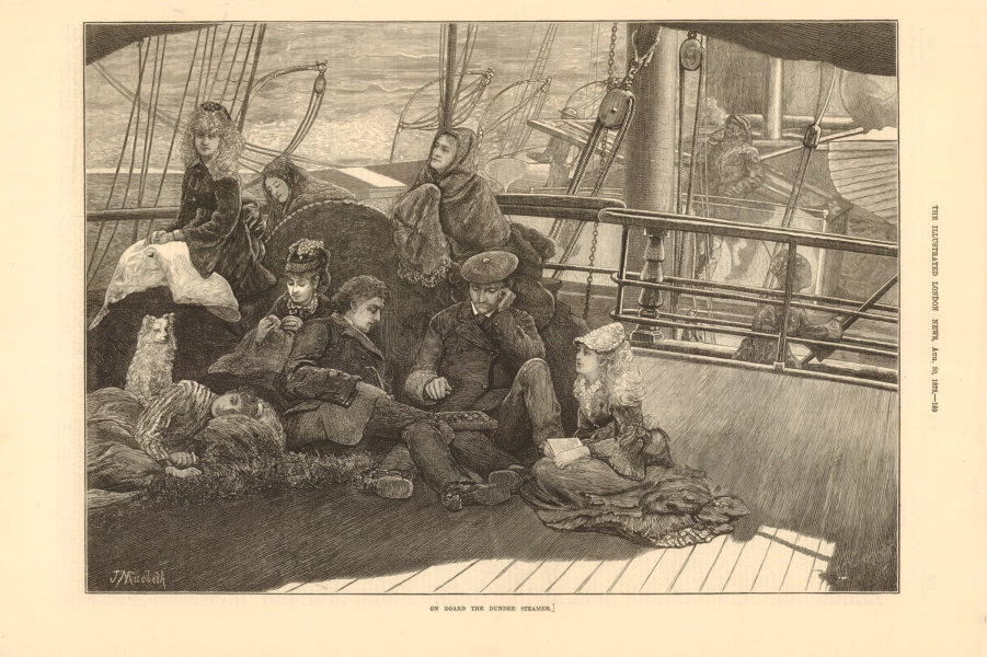 Associate Product On board the Dundee Steamer. Scotland passengers 1878 antique ILN full page