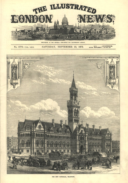 Associate Product The new town hall, Bradford. Yorkshire. Buildings 1873 antique ILN full page