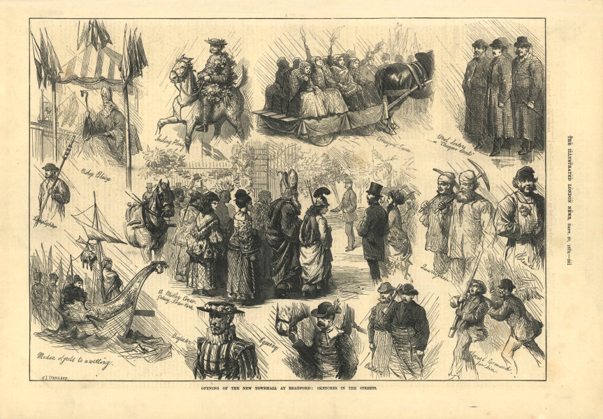 Associate Product Bradford new town hall. Sketches in the streets. Yorkshire 1873 ILN full page