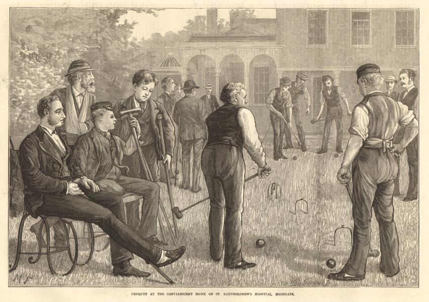 Associate Product Croquet, St. Bartholomew's Hospital convalescent home, Highgate 1873 ILN print