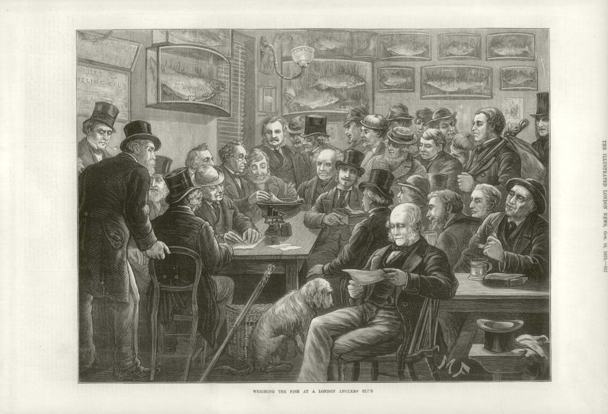 Associate Product Weighing the fish at a London anglers' club 1873 antique ILN full page print