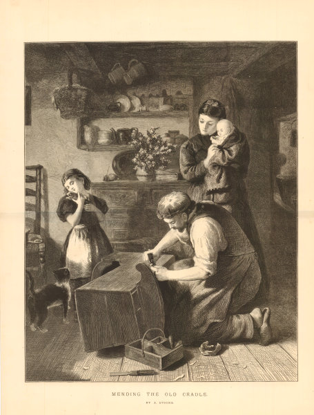 Associate Product Mending the old cradle, by A Stocks. Children babies. Woodwork repair 1873