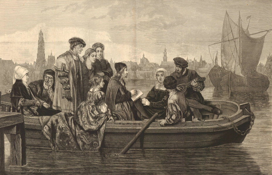 Associate Product Albert Durer sketching the Panorama of Antwerp in 1520, by John Neuhuys 1874