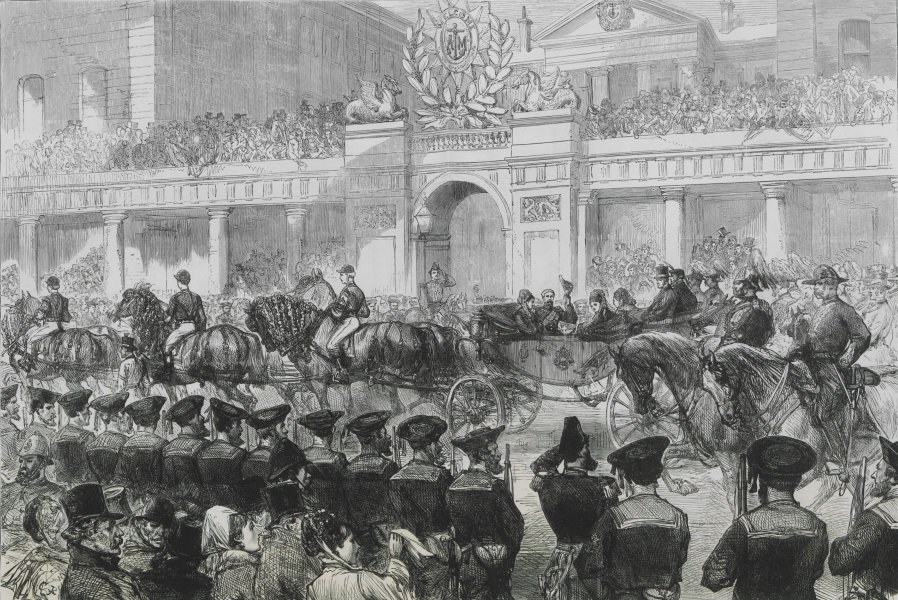 Associate Product The royal entry into London: sailors at the Admiralty saluting. Royalty 1874