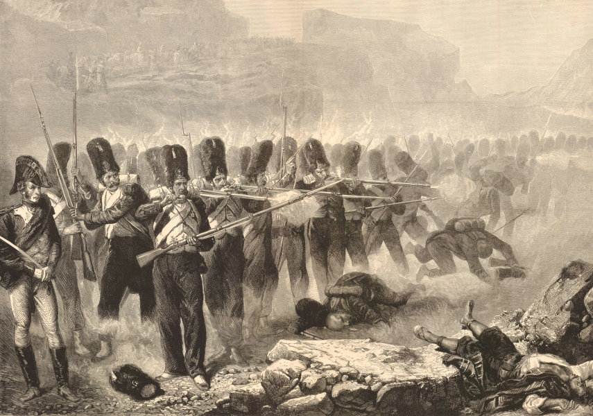 """Associate Product """" Rear guard protecting a convoy """", by Bellange. Militaria 1874 ILN full page"""