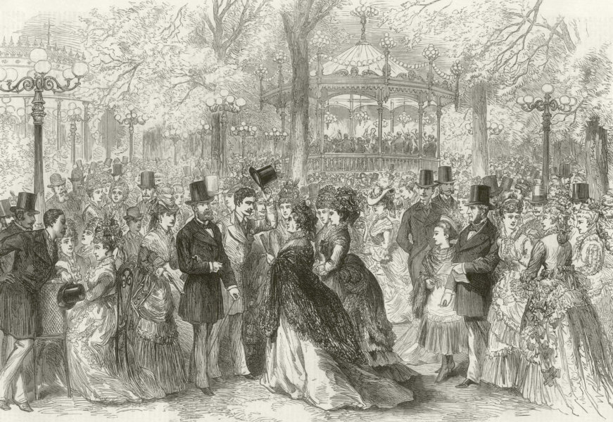 Associate Product Fashionable promenade & concert in the Champs Elysees, Paris. Bandstand 1874