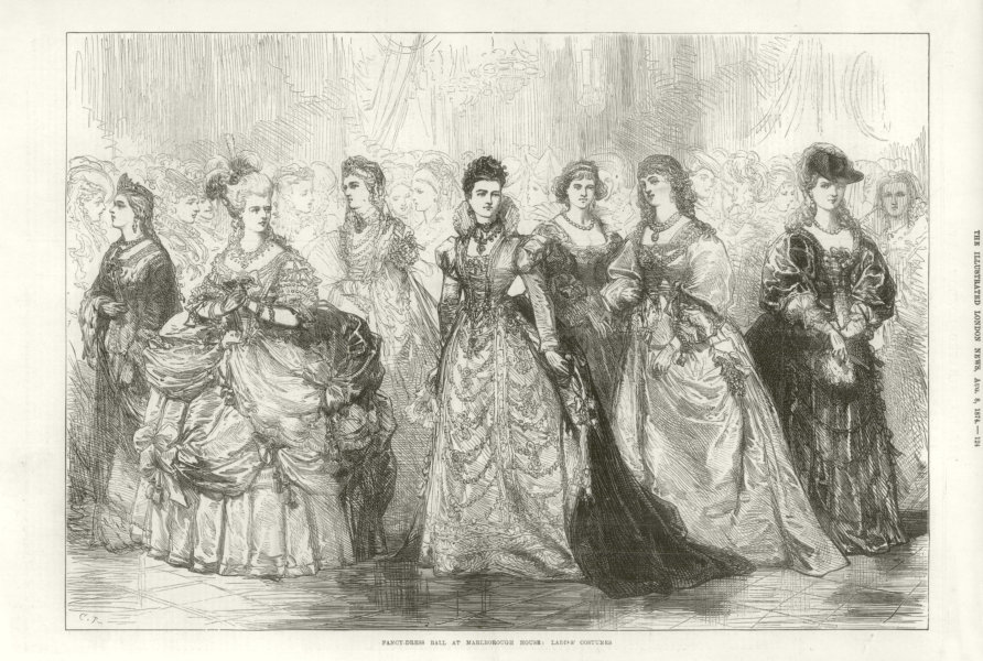 Associate Product Fancy dress ball at Marlborough House: Ladies costumes. Pall Mall, London 1874