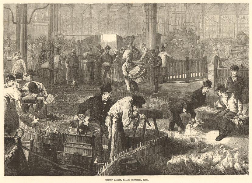 Associate Product Poultry market, Halles Centrales, Paris 1874 antique ILN full page print