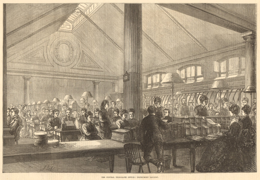 Associate Product The Central Telegraph Office: instrument gallery. London 1874 antique ILN page