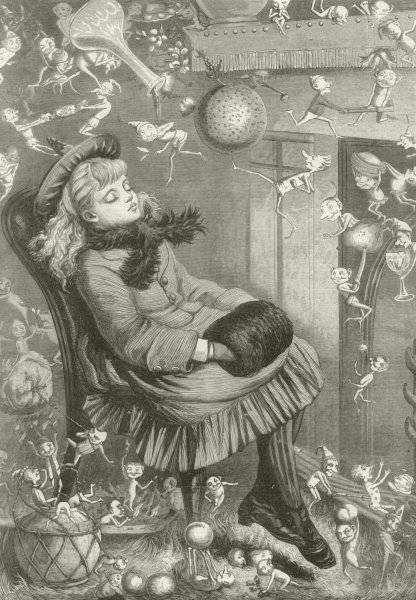 Associate Product A Christmas Dream, by Kate Greenaway. Children. Fantasy 1874 antique ILN page