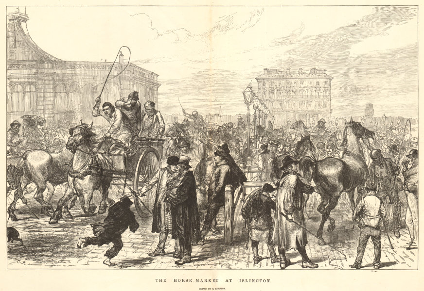 Associate Product The horse-market at Islington. Drawn by C. Robinson. London 1874 ILN full page