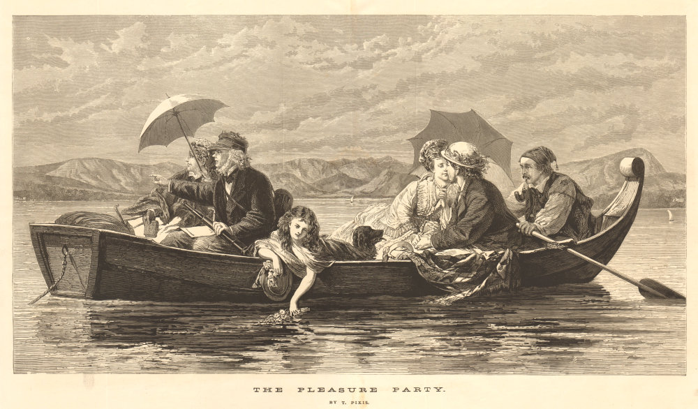 Associate Product The pleasure party. Family. Boats 1874 antique ILN full page print