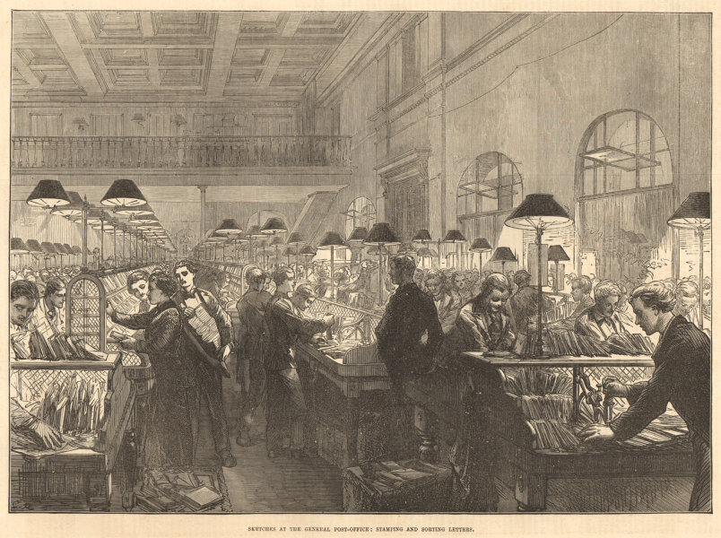 Associate Product The General Post-Office: Stamping & sorting letters. London. Mail 1875