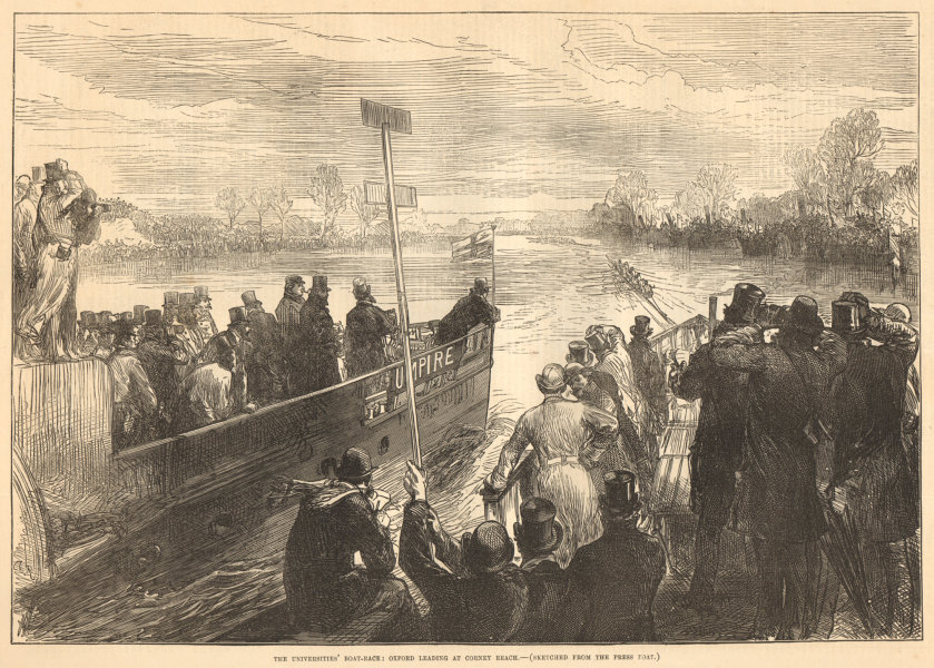 Associate Product Oxford leading cambridge at Corney Reach, Chiswick. Boat Race. Rowing 1875