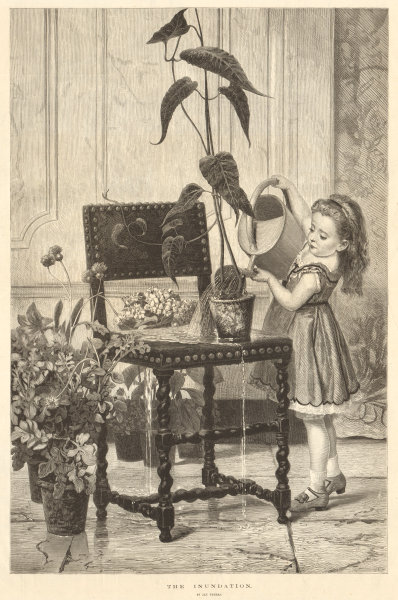 """Associate Product """"The inundation"""", by Jan Verhas. Children. Watering can flowers 1875 ILN print"""